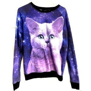 Galaxy Cat Sweatshirt Fifth Sun Small Purple Black